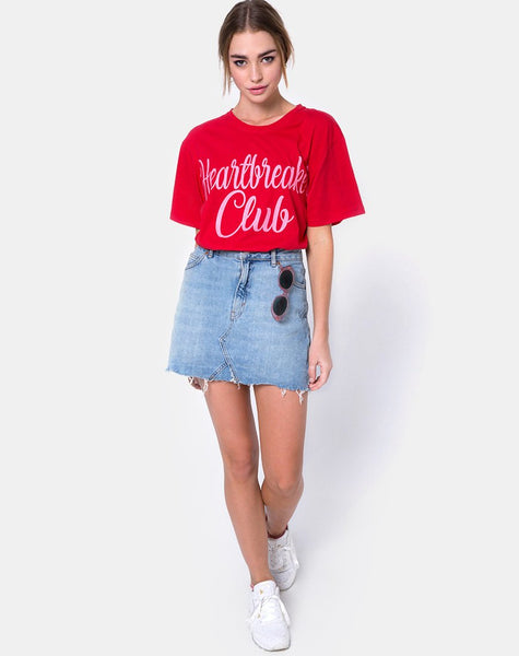 Oversize Basic Tee in Heartbreaker Club Red by Motel