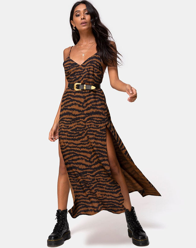 Hime Maxi Dress in Animal Drip Brown by Motel