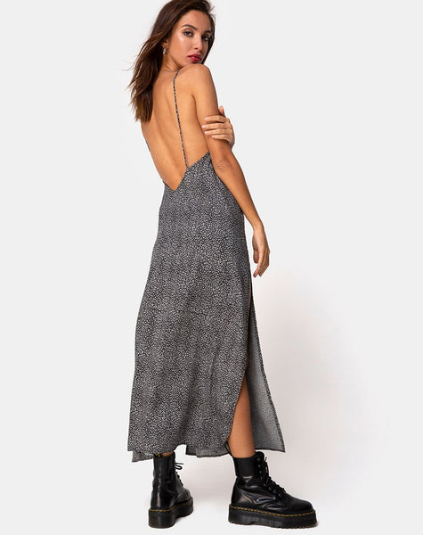 Hime Maxi Dress in Ditsy Leopard Grey by Motel