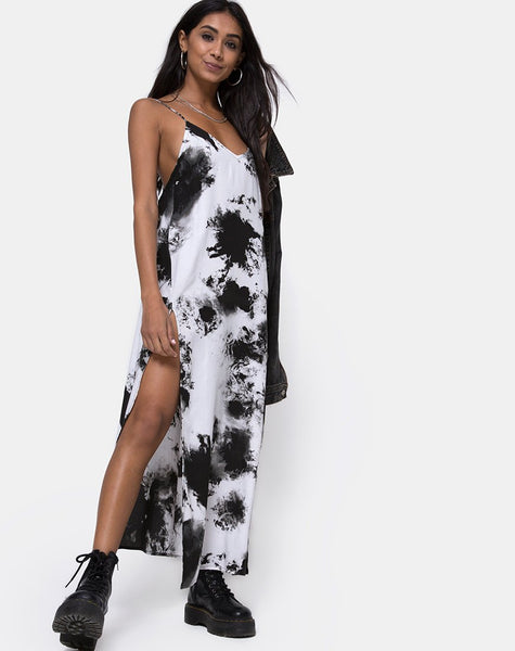 Hime Maxi Dress in Mono Tie Dye Black and White by Motel