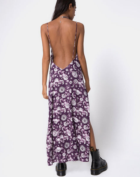 Hime Maxi Dress in Purple Zodiac by Motel