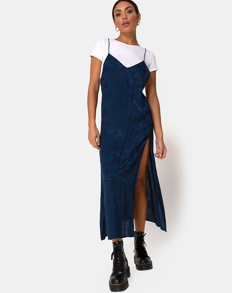 Hime Dress in Satin Blue Rose by Motel