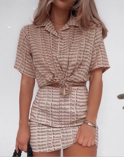 Pelmo Mini Skirt in Modern Day Romantics Nude by Motel