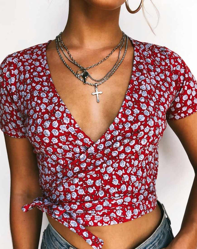 Bilen Top in Ditsy Rose Red and Silver by Motel