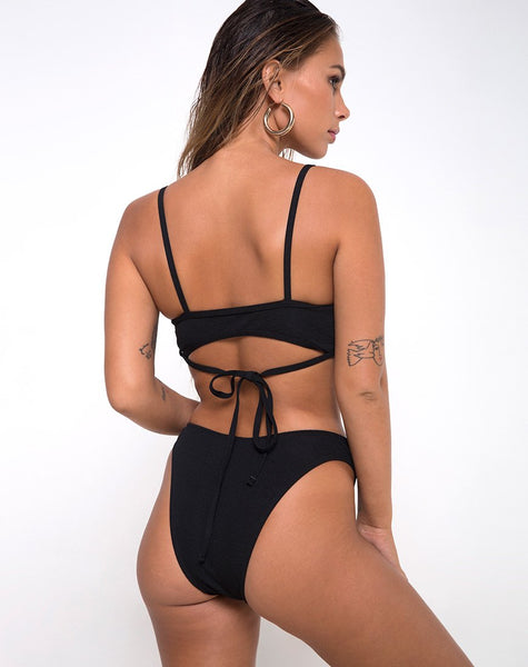Ina Top Bikini in Textured Black By Motel