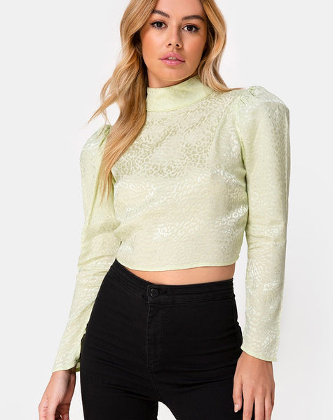 Jasty Crop Top in Satin Cheetah Pistachio by Motel