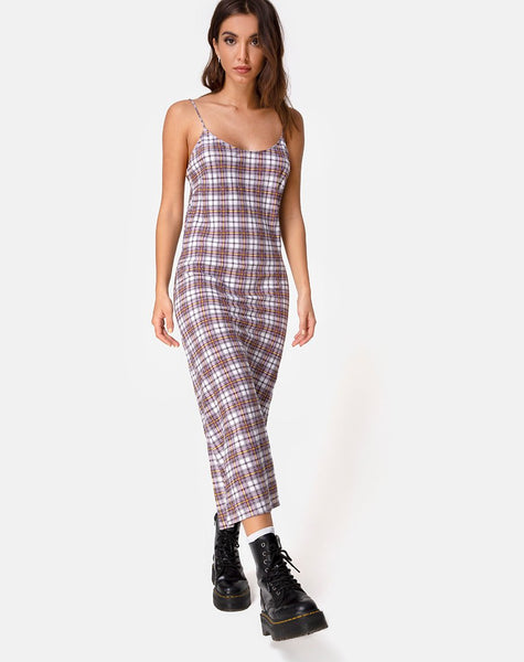 Julia Maxi Dress in Grunge Check Purple by Motel
