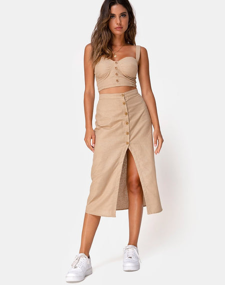 Marni Midi Skirt in Satin Rose Chocolate by Motel