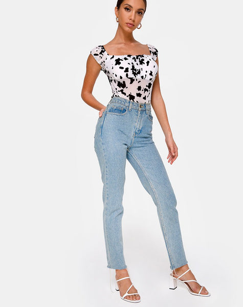 Kalina Bodice in Flock Dalmatian Black and White by Motel