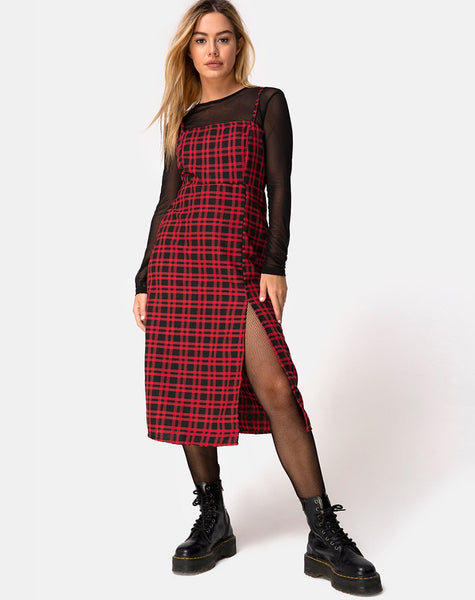 Kaoya Midi Dress in Check Red and Black by Motel