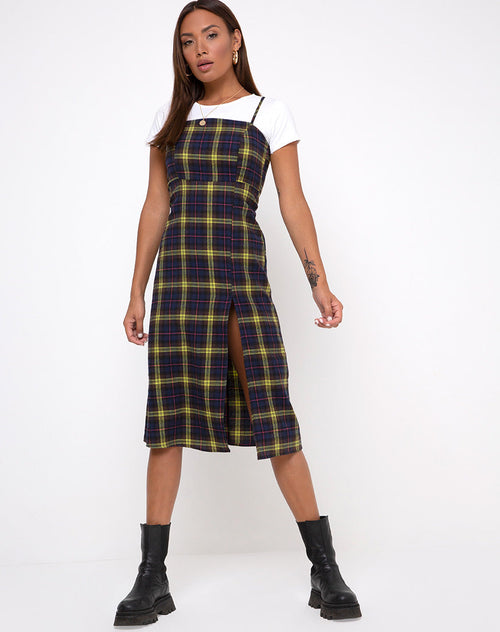 Kaoya Dress in Plaid Brown Yellow Check by Motel