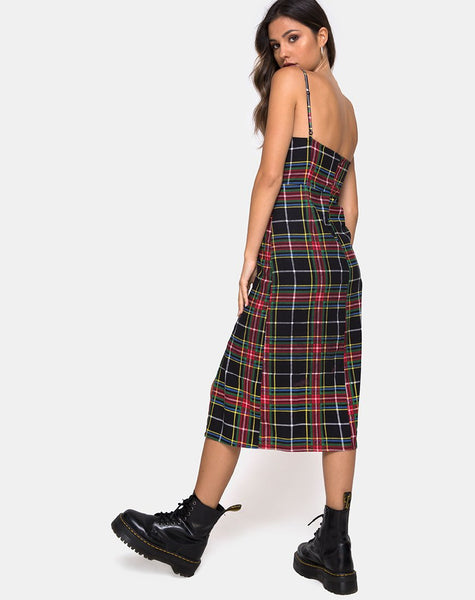 Kaoya Dress in Plaid Red Green Yellow Black by Motel