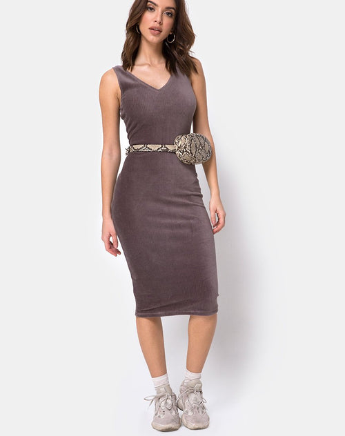 Kardie Bodycon Dress in Mocha Velvet Rib by Motel