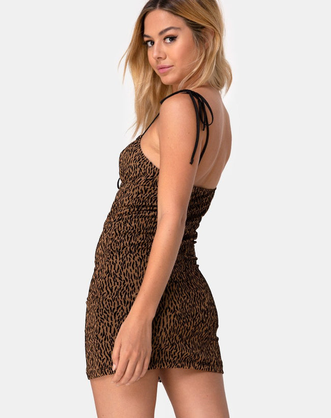 Karlia Dress in Animal Flock Tan Net by Motel