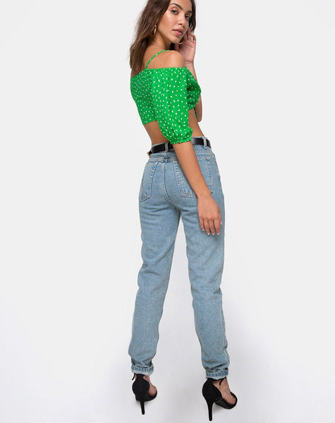 Kavon Crop Top in Green Diana Dot By Motel