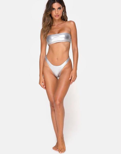 Keila Bikini Bottom in Metallic Silver by Motel