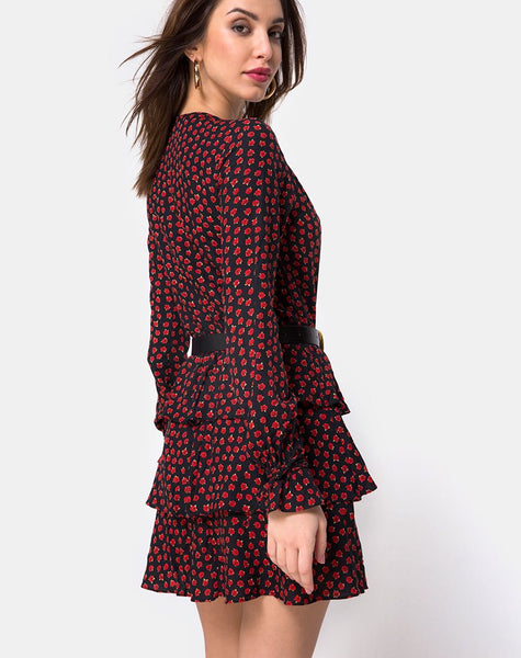 Kepsibelle Dress in Dotty Rose Black By Motel