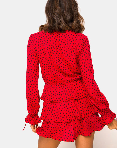 Kepsibelle Dress in Mini Diana Dot Red and Black by Motel