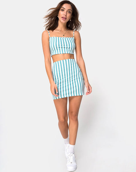 Kini Crop Top in Mid Stripe by Motel