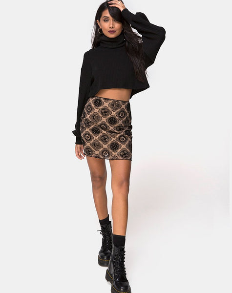Kinnie Mini Skirt in Taupe Net with Black Sign Flock by Motel