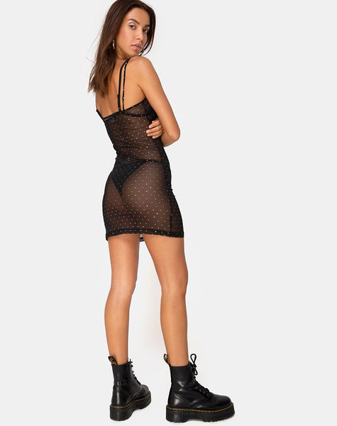 Kumin Mini Dress in Crystal Net Black by Motel