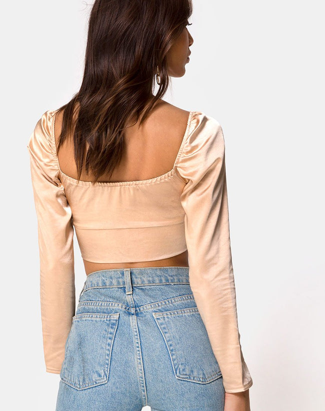 Laman Crop Top in Satin Champagne by Motel