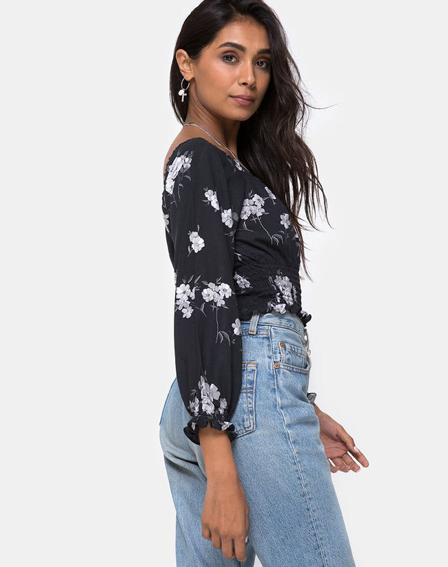 Lancer Crop Top in Mono Flower Black by Motel