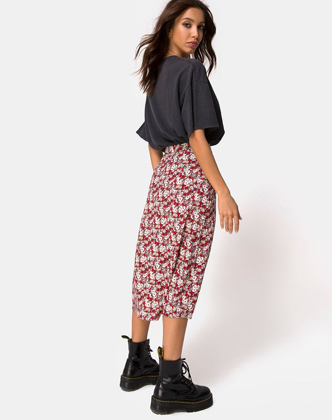 Saika Midi Skirt in Floral Charm Red by Motel