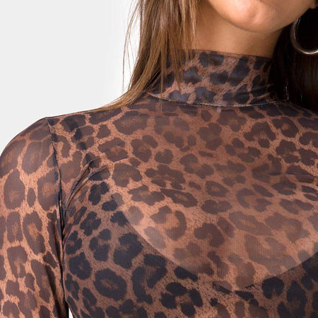 Lara Crop Top in Leopard Mesh by Motel