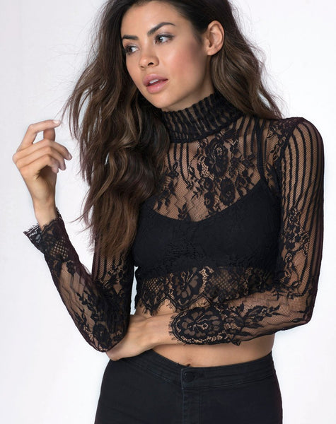 Lara High Neck Crop Top in Stripe Lace Black by Motel