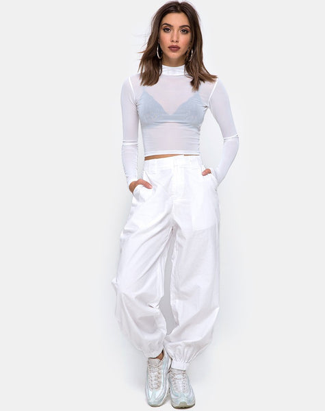Rhala Crop Top in White Net by Motel