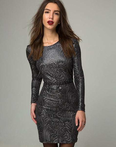 Leo Bodycon Dress in Animal Slinky by Motel