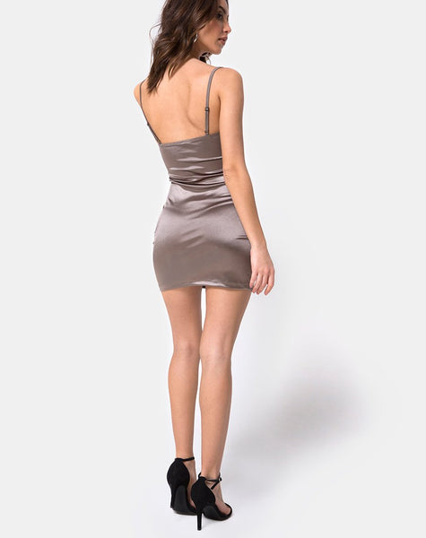 Lesty Bodycon Dress in Warm Steel by Motel