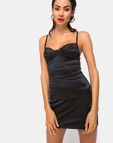 Doella Slip Dress in Satin Cheetah Black by Motel