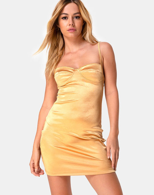 Leta Bodycon Dress in Warm Gold by Motel