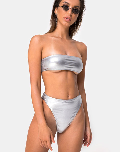 Lien Bikini Top in Metallic Silver by Motel