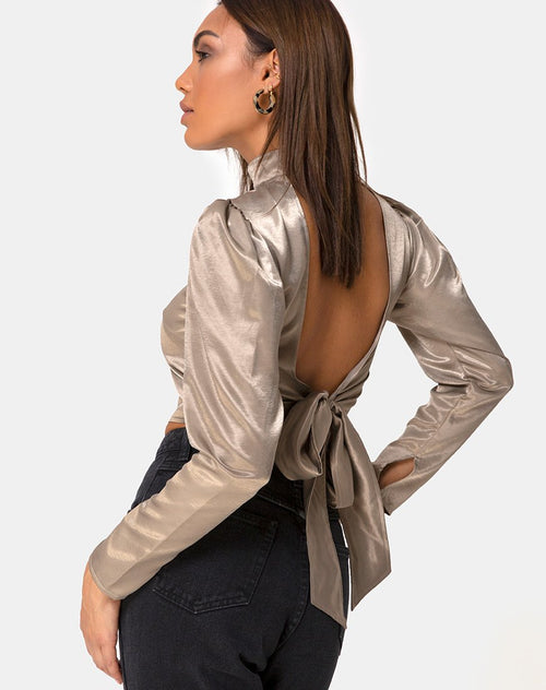 Lona Longsleeve Top in Satin Taupe by Motel