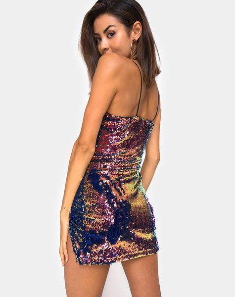 Lucky Mini Dress in Dragon Fruit Sequin By Motel