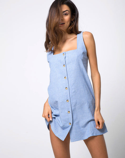 Madison Slip dress in Stripe Blue by Motel