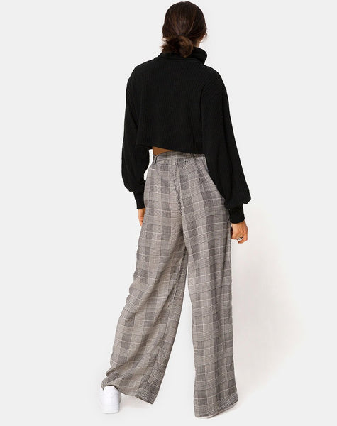 Majustie Highwaist Trouser in Charles Check Grey By Motel