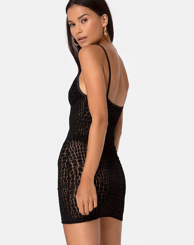 Maneda Dress in Croc Flock Black by Motel