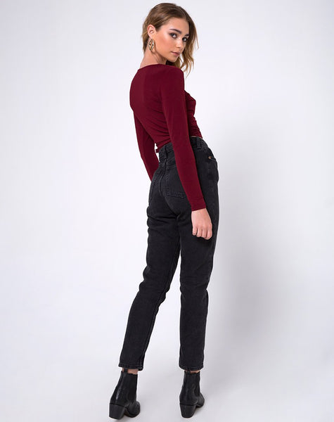 Marche Wrap Top in Burgundy by Motel