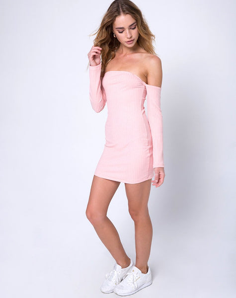 Marina Bodycon Dress in Ribbed Blush by Motel