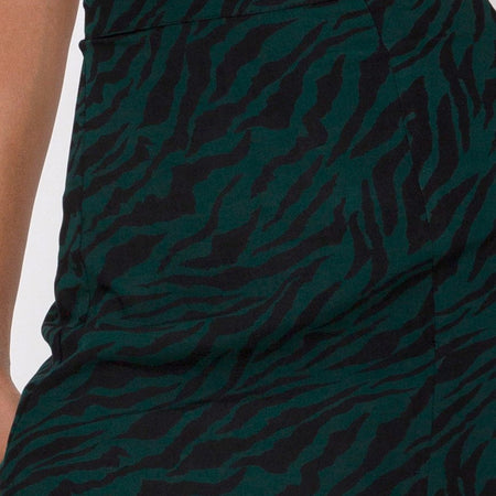 Mica Maxi Skirt in 90's Zebra Forest Green by Motel