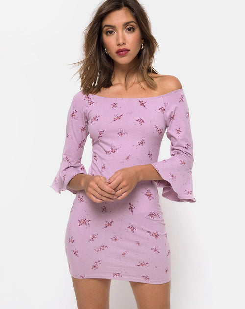 Migare Bodycon Dress in Forget Me Not Lilac by Motel
