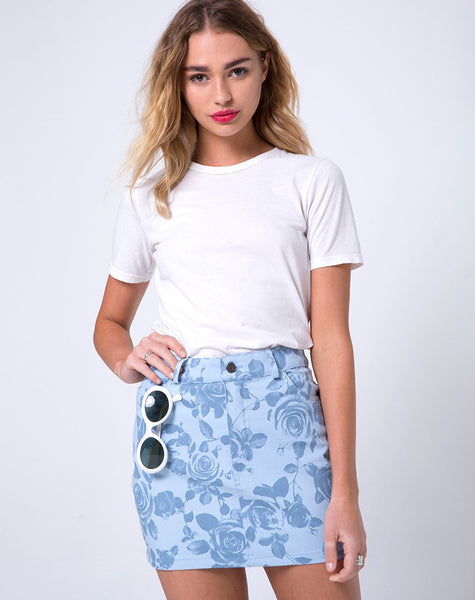 Mini Broomy Skirt in Sky Rose by Motel