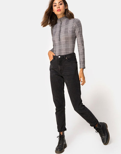 Molaka High Neck Bodice in Charles Check Grey By Motel