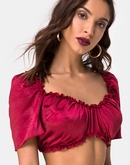 Lilian Crop Top in Satin Rose Rust by Motel