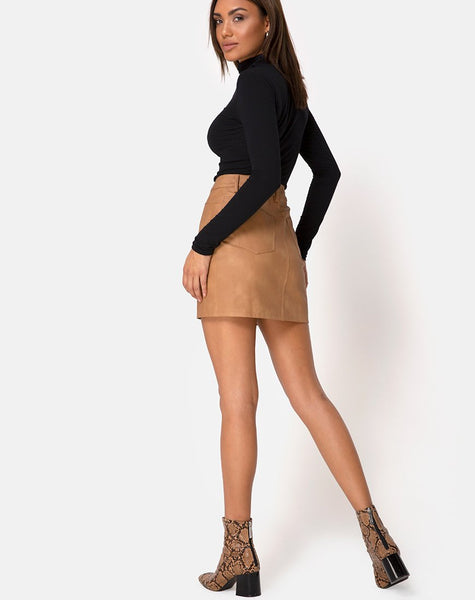 Mori Skirt in PU Brown by Motel