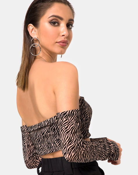Nareen Off Shoulder Top in Tiger Net Tan By Motel